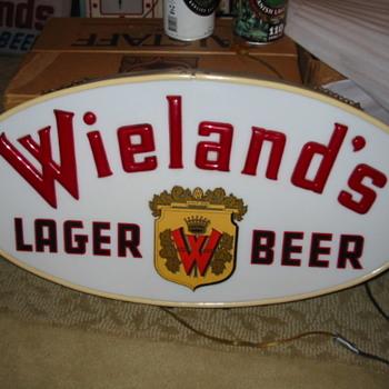 1950's light up Wieland's Sign  - Breweriana