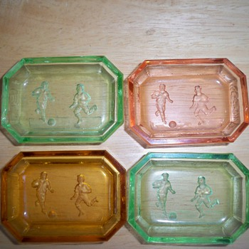 Czech salt cellars unusual soccer intaglio - Art Glass