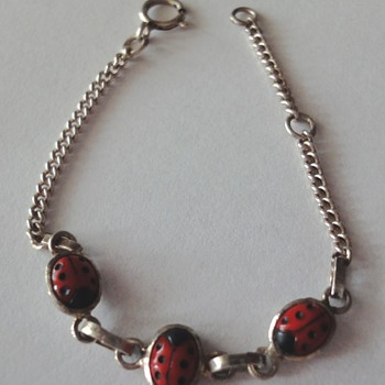 Sterling Silver enameled Ladybug bracelet for a baby or little lady - Fine Jewelry