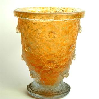 daum nancy art deco acid etched vase with gold inclusion - Art Deco