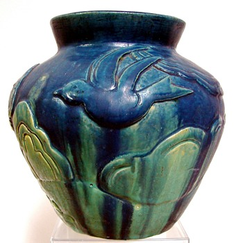 Beautiful heavy piece of art pottery uncertain of maker...signed JM Spring Ma or Springma ...1933...