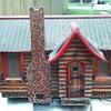 Folk art log cabin am radio