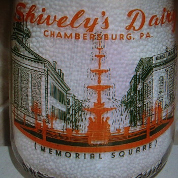 SHIVELEY'S DAIRY...CHAMBERSBURG PENNSYLVANIA...HISTORIC FOUNTAIN PICTURE...MILK BOTTLE - Bottles