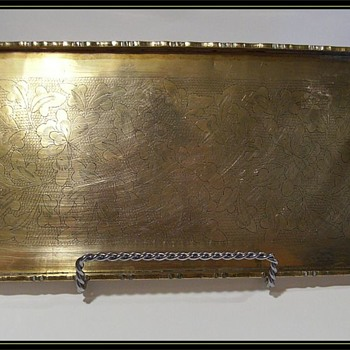 BRASS - Small Tray with Design, and marked - Asian