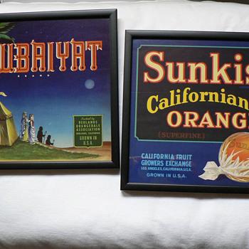 Sunkist California Oranges and Rubaiyat crate labels - Advertising