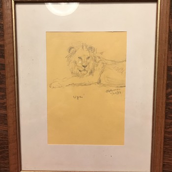 A Lifetime with Lions by George Adamson Influenced Sketch - NJ Attribution - Fine Art