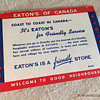 The T. EATON Co. Limited, Winnipeg USA Customs Information Card circa. 1952
