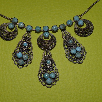 Vintage necklace with faux turquoise  - Costume Jewelry