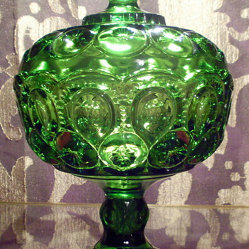 Green L. E. Smith Moon & Stars Candy Dish with Pedestal Base and Lid - Glassware