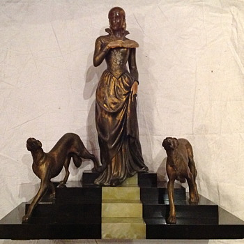 1930's French Bronze Lady with Greyhounds on Marble. - Art Deco
