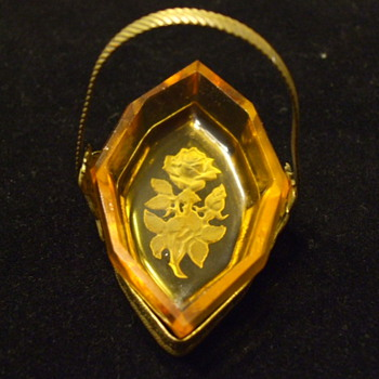 "Art Nouveau/Deco Intaglio ""ROSE"" Salt Cellar with Individual Metal ""Panier"" - Art Glass"