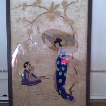 JAPANESE SILK FRAMED PICTURE - Asian
