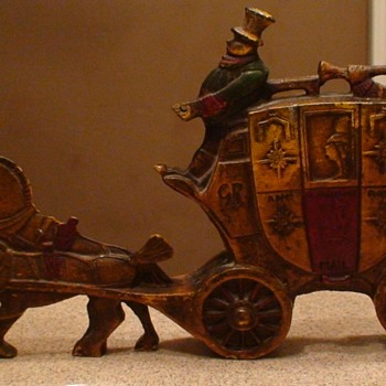 London Royal Mail Coach Cast Iron Doorstop 1930 Charles Tuteur Of Chicago - Fine Art
