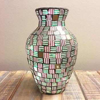 Glass Tile Mosaic Vase - Art Glass