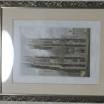 Origional 1819 York Minster Engraved Print hand Colored by Edward Blake  - Posters and Prints