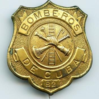 1900s Period Island of Cuba Firefighter Badge - Firefighting