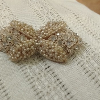 Grandmother's pearl/rhinestone bow pin - Costume Jewelry