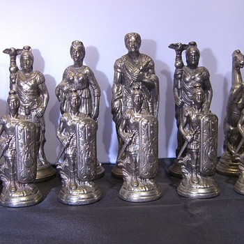 My Brass & Silver Roman Chess Pieces