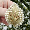 Crown Trifari pearl brooch