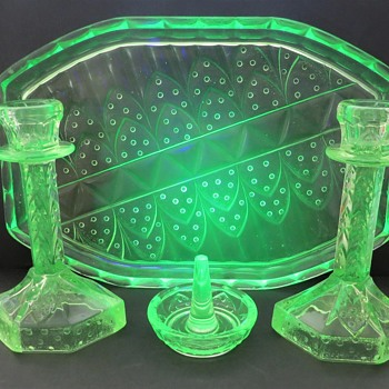 Walther Uranium  Glass Dressing Table Set - Poseiden - Glassware