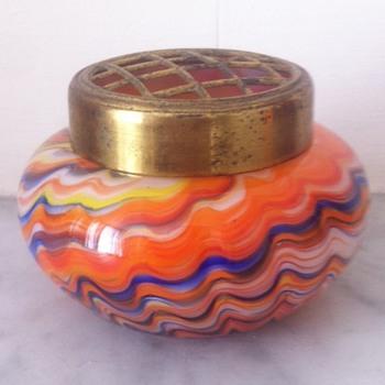 Swirled/marbled almost miniature urn - Art Glass