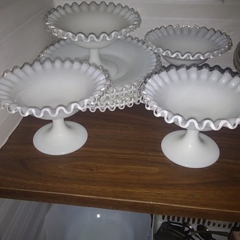 Serving Set Mid Century Milk Glass - Glassware