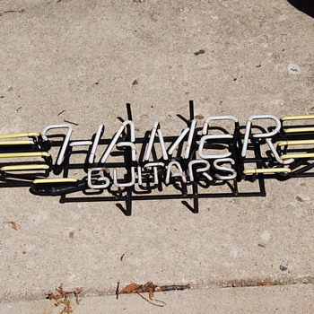 Neon Hamer guitars sign from 1989