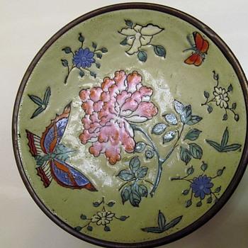 ANTIQUE CHINESE TONGZHI GLAZED PORCELAIN AND BRONZE PLATE