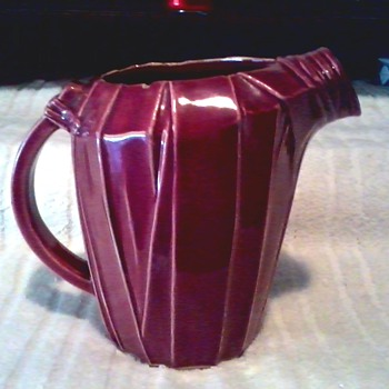 Burgundy McCoy Art Deco Strap Design Pitcher / Marked McCoy / Circa 1940's - Pottery