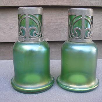 Iridescent green vases  - Art Glass