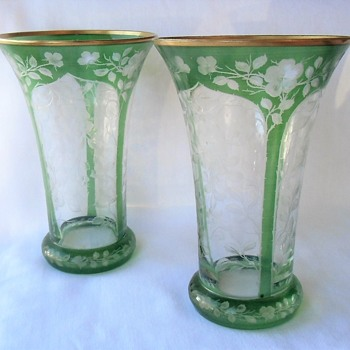 Lovely Bohemian Art Nouveau Crystal Pair Vases Green Flash Cut To Clear Climbing Roses - Art Glass