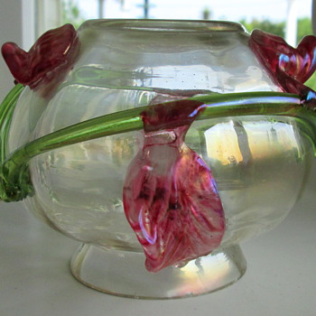 Kralik Applied Flower Vase - Art Glass