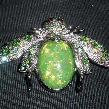 GIANT Beetle Bug Brooch AB Rhinestone & Opalized Body Marked SNK - Costume Jewelry