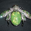 GIANT Beetle Bug Brooch AB Rhinestone & Opalized Body Marked SNK