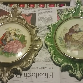Lovely Victorian style courtship wall plaques - Victorian Era
