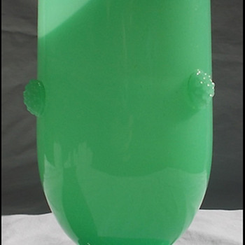 JADE GREEN GLASS VASE with prunts  GLOWS!!! late Loetz ?? - Art Glass