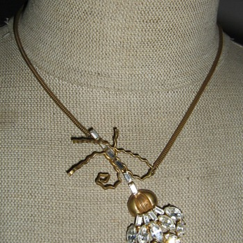 Asymetric rhinestone necklace - Costume Jewelry