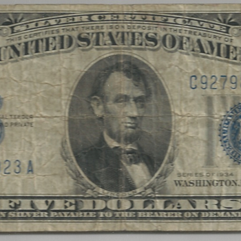 Inverted Back - 1934 5-dollar US Silver Certificate Bill
