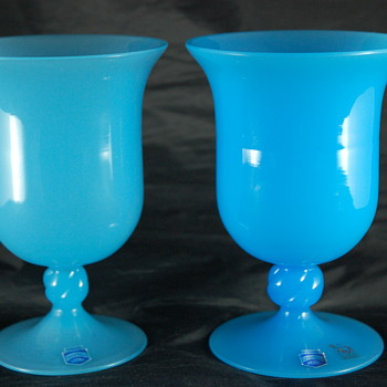 Vetri Cenedese Murano Blue Opaline Chalice Set - Art Glass