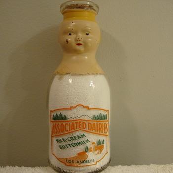 ASSOCIATED DAIRY BABY TOP MILK BOTTLE...LOS ANGELES CALIFORNIA,,,FACTORY PAINTED HEAD - Bottles