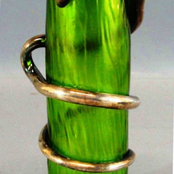 Loetz Crete Rusticana Vase with Silver Snake and Rim. - Art Glass