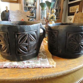 Old wood Japanese buckets,  10 inches X 7 inches, carved from one piece of wood - Asian
