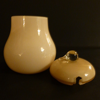 Cased glass pear shaped condiment jar - Art Glass