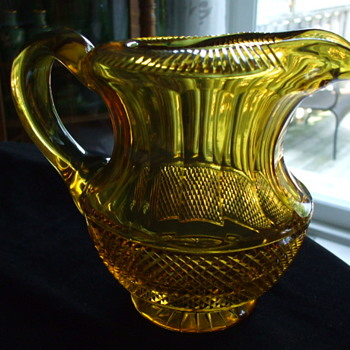 Unusual Rolled & Cut Rim Anglo-Irish? or Bohemian? Honey Amber Cut Glass PITCHER - Glassware