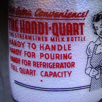 """Milk Bottle Advertising The New """"Handi"""" Quart Style.........."""