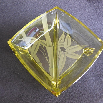 Yellow Depression Glass Two Section Footed Serving Dish With Etched Bamboo Design - Glassware
