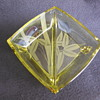 Yellow Depression Glass Two Section Footed Serving Dish With Etched Bamboo Design