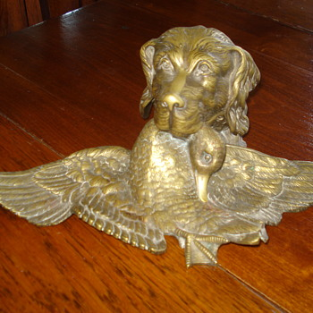 Antique Solid Bronze Duck Hunting Dog Inkwell - Pens