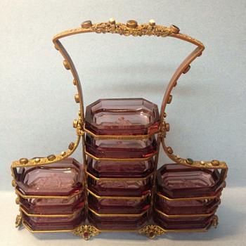 Over the top jeweled Czech holder  - Art Glass
