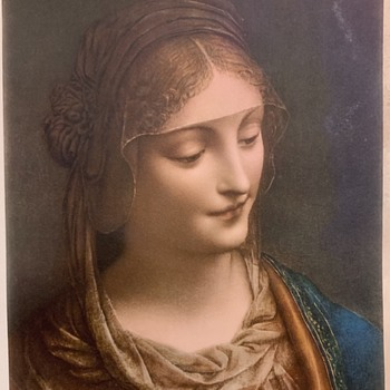 Print of Bernardino Luini, Virgin Mary painting  (Flea Market find - Fine Art